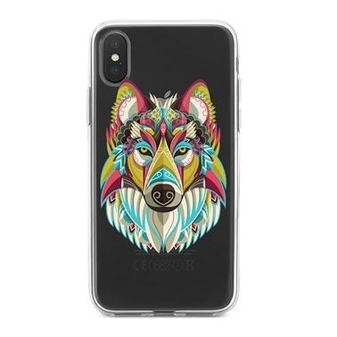 Lopard iPhone Xs Max Kılıf Silikon Arka Koruma Kapak Renkli Kurt Desenli Renkli